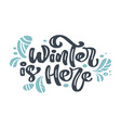 winter is here christmas vintage calligraphy vector image vector image