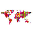 world map bright multicolored abstract pattern vector image vector image