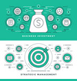 flat line strategic management and investment vector image