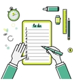 Business goals checklist flat linear icon vector image