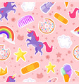 seamless pattern with unicorn stars vector image