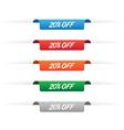 20 percent off paper tag labels vector image vector image