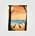 bali beach sunset vintage travel poster design vector image vector image