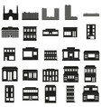 black buildings web icons set vector image vector image