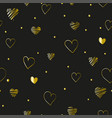 black seamless pattern valentines day with golden vector image vector image