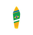 brazil surf board flat style icon design vector image vector image