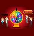 businesspeople with financial wheel of fortune vector image vector image