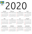 calendar 2020 swedish sunday vector image vector image