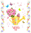 can watering with bouquet of roses and flying vector image