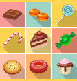 Candy sweets and cakes icons poster vector image vector image