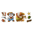 cartoon colored items characters cowboy and indian vector image