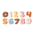 cartoon donut hand drawn set vector image vector image