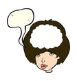 cartoon empty headed woman with speech bubble vector image vector image