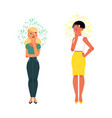 cartoon young adult girls thinking vector image