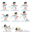 characters skateboarding game flat icon man vector image
