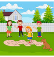 children playing hopscotch in park vector image vector image
