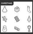 christmas outline isometric icons vector image vector image