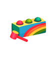 colorful box with three balls and hammer children vector image