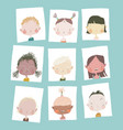 cute cartoon girls and boys portraits different vector image