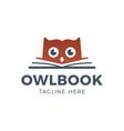 cute owl head with book education logo - emblem vector image vector image