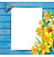 daffodils flowers on the wooden background vector image vector image