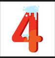 figure is 4 in the snow number four for the vector image