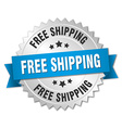 free shipping 3d silver badge with blue ribbon vector image vector image