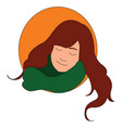 girl with green scarf on white background vector image vector image