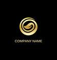 gold leaf round organic logo vector image vector image