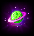 green planet with rings icon for game or mobile vector image vector image
