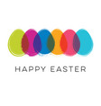 happy easter card with colorful eggs vector image