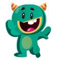 happy green monster waving vector image