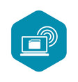 laptop and and wireless icon simple style vector image vector image