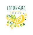 lemonade original design logo natural citrus vector image