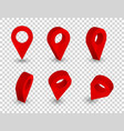 map pointer 3d pin location symbols set isolated vector image vector image