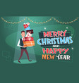 merry christmas and happy new year poster with man vector image