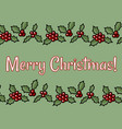 merry christmas holly berry postcard vector image vector image