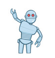 metallic cartoon robot in action pose vector image vector image