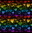 neon seamless pattern with valentine hearts vector image vector image
