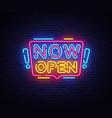 now open neon signs now open design vector image