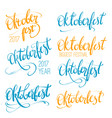 oktoberfest hand lettering set brush pen vector image