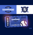one modern professional design baseball tickets vector image