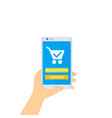 online order and purchase mobile shopping vector image vector image