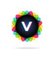 Retro bright colors Logotype Letter V vector image vector image
