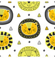 seamless pattern with face lion in scandinavian vector image vector image