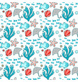 seamless pattern with sea characters and plants vector image vector image