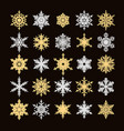 set of gold and silver snowflakes silhouette vector image vector image