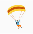 skydiver flying with parachute skydiving vector image vector image