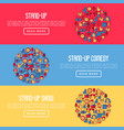 stand up comedy show concept with thin line icons vector image vector image