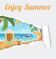 vacation tropical beach through torn hole in paper vector image